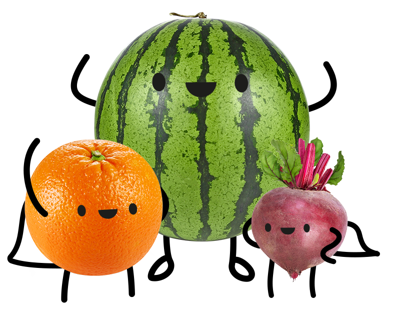 Fruit and veg being friends